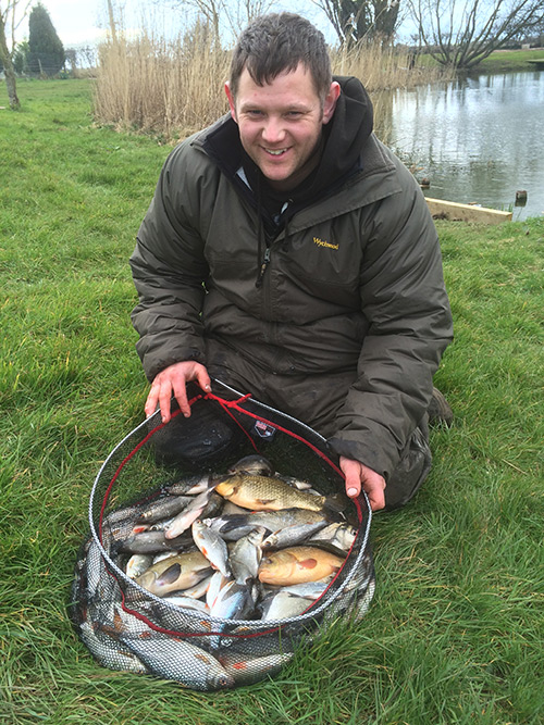 Net full of fish caught at The Clay Pool, Starcarr Lakes, Brandesburton